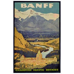 Rare 1930s Original Vintage Travel Advertising Poster for the Ski Resort of Banff, Canadian Pacific Rockies