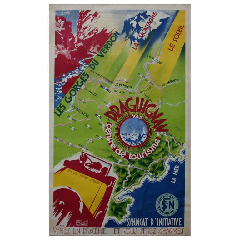 Original Art Deco Travel Poster for Draguignan France, Sun Sea Mountains Map