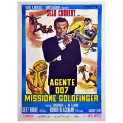 Original Vintage 007 James Bond Movie Poster, Goldfinger, Starring Sean Connery