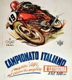 Large Original Vintage Motorcycling Poster for the Italian Championships 1950
