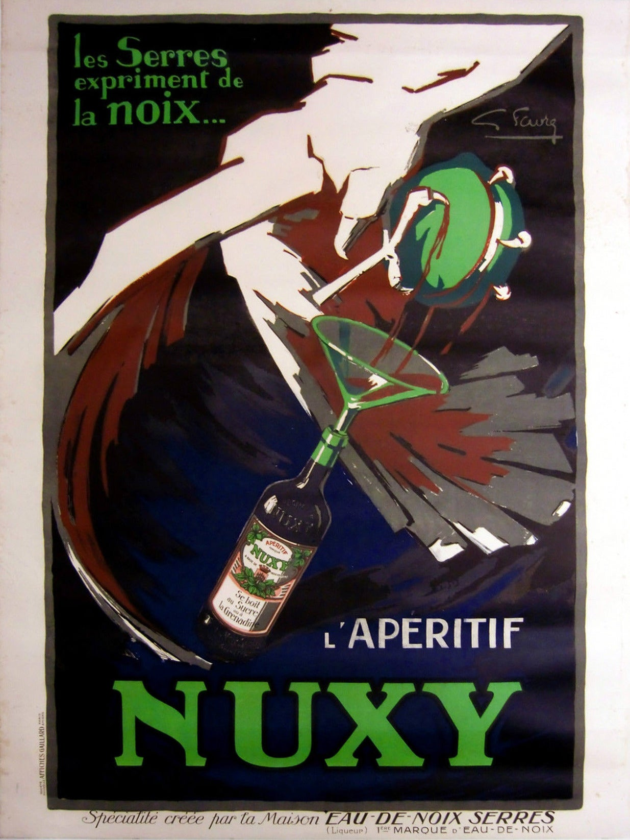 Original Vintage Art Deco Drink Advertising Poster For L ...