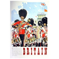 Original Vintage Travel Advertising Poster for Britain, the Coldstream Guards