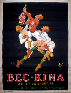 Large Original Vintage 1920s Advertising Poster For Bec Kina: Rugby, By Mich