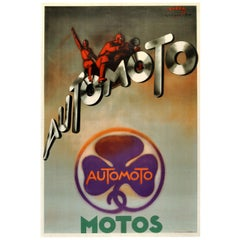 Original Vintage Art Deco Advertising Poster Automoto Motos Bicycles Motorcycles