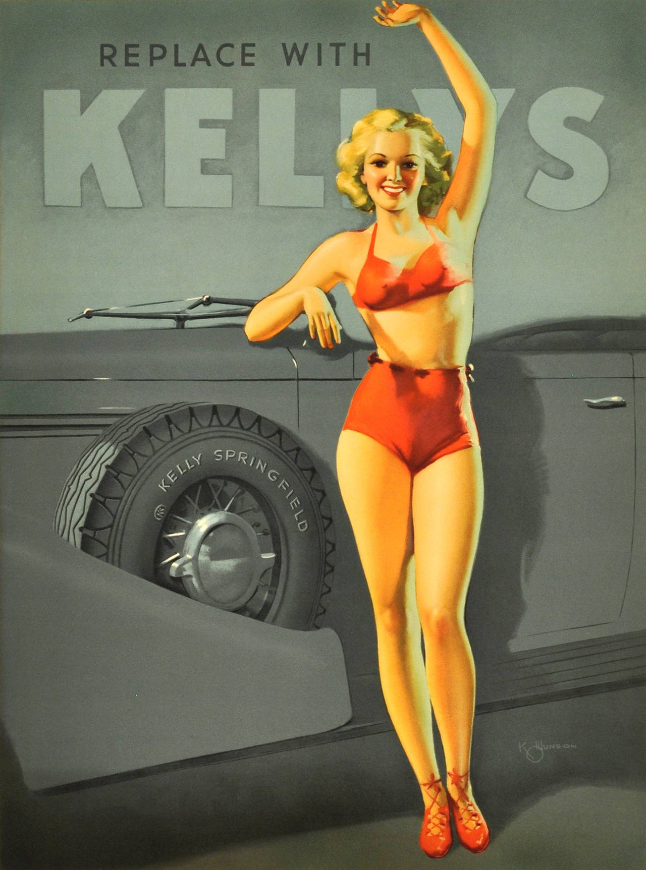 original 1930s art deco pin up style advertising poster