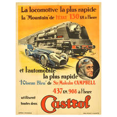 Original Vintage Car Racing Poster Issued By Castrol Featuring A Steam Train And Sir Malcolm Campbell's Bluebird