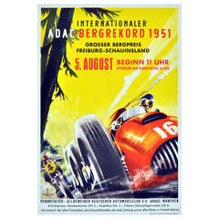 Original Vintage Car Racing Poster for the Internationaler ADAC Bergrekord 1951, Featuring a Red F1 Ferrari 375 and Motorcycle