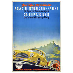 Original Vintage 1950 Poster for the ADAC 6 Hour Car Race at Nurburgring, Image of Maserati and Mercedes