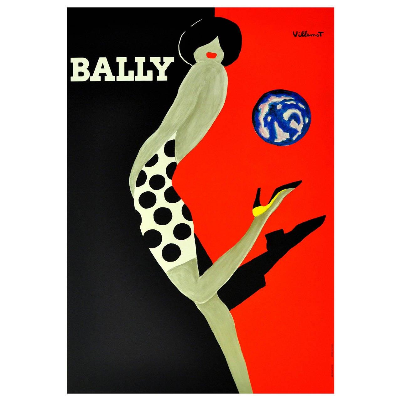 Bally Ball, Original Vintage Bally Shoes Advertising Poster by Bernard Villemot