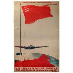 Original Soviet Propaganda Poster to the Bolshevist Conquerors of the North Pole