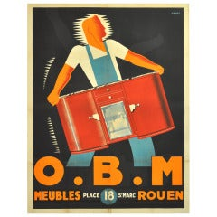 Original Vintage Art Deco Advertising Poster for the O.B.M. Furniture Store in Rouen Designed by the Havas Advertising Agency