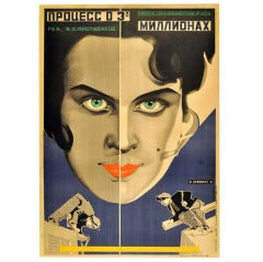 Original Vintage Constructivist Russian Movie Poster for the Three Million Case