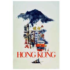 Original Vintage Hong Kong Travel Advertising Poster Featuring a Hong Kong Bus and the Peak by Artist David Lam