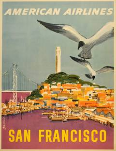 Original American Airlines Travel Advertising Poster: San Francisco, California