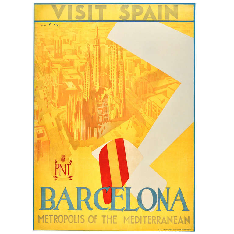 Original vintage art deco travel advertising poster - Art deco espana ...
