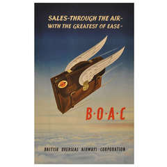 """Original Vintage Travel Advertising Poster for BOAC, """"Sales Through The Air"""""""