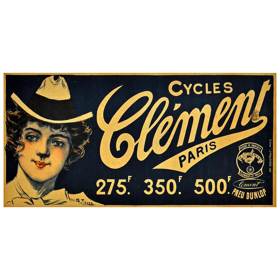 Original Antique Victorian Era Cycling Poster for Cycles Clement Dunlop Tyres