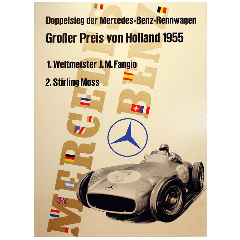 Original vintage poster for the mercedes benz victory for Mercedes benz wall posters