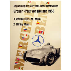 Original Vintage Poster for the Mercedes Benz Victory, 1955, Holland Grand Prix
