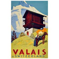Original Vintage 1936 Poster for Valais in Switzerland, Home of the Verbier and Zermatt Ski Resorts