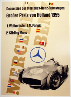 Original Vintage F1 Racing Poster Mercedes Benz Victory 1955 Holland Grand Prix