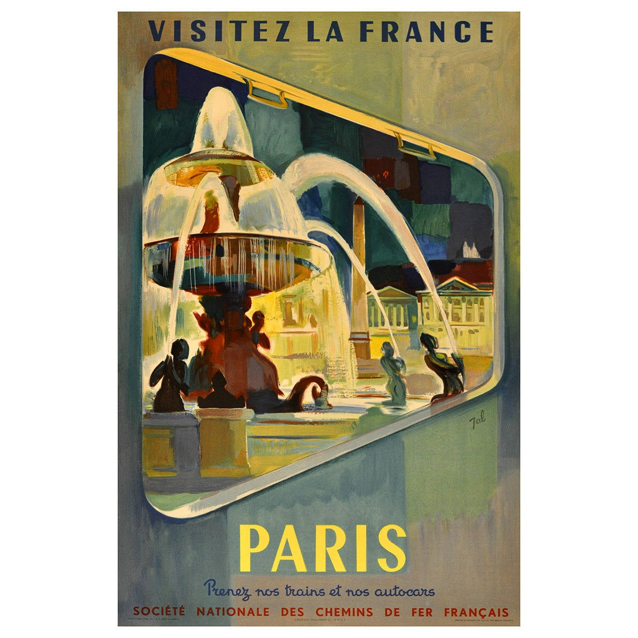Original Vintage French National Railways Poster, \
