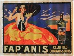 Large Horizontal Original Vintage 1930s Drink Advertising Poster For Fap'Anis