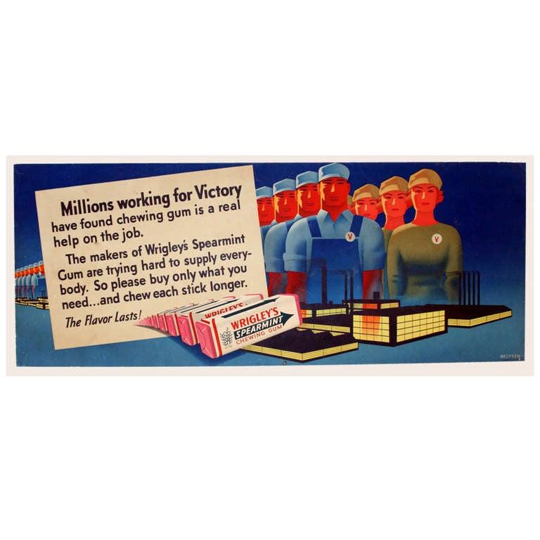 Otis Shepard Wrigley's Gum advertisement, 1940s, offered by Antikbar Limited