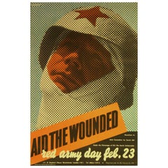 Rare Original Vintage WWII Poster by Henrion Aid The Wounded Soviet Red Army Day
