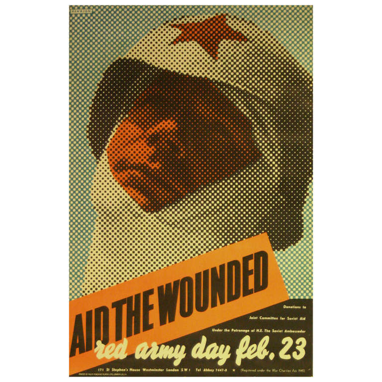 Rare Original Vintage WWII Poster by Henrion Aid The Wounded Soviet Red Army Day For Sale