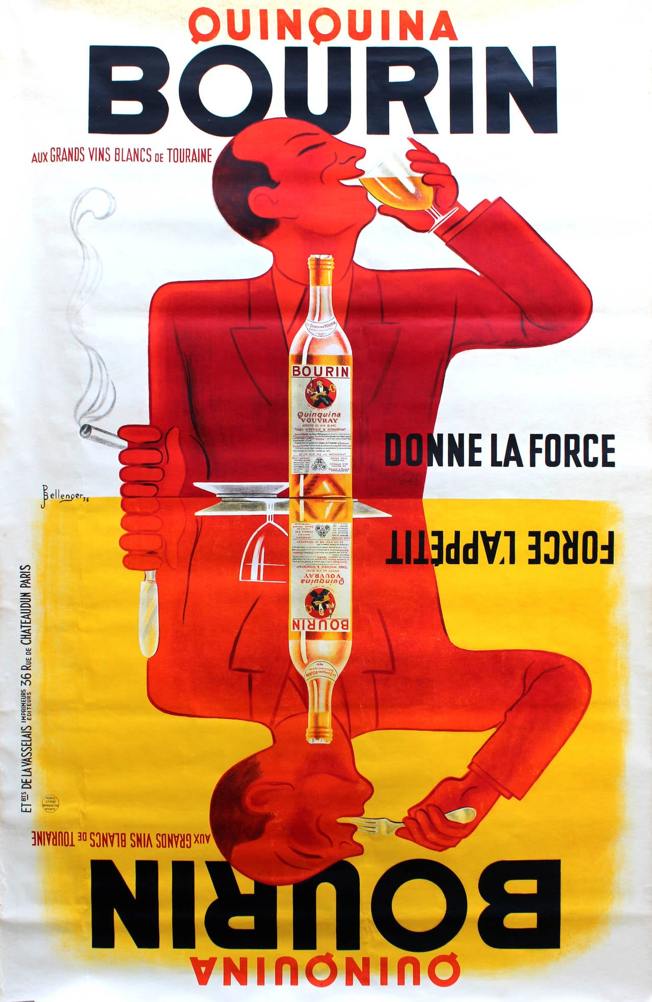 Large Original Vintage Advertising Poster For Quinquina ...