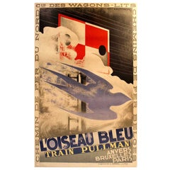 Original Vintage 1929 Art Deco Pullman Train Poster by Cassandre - L'Oiseau Bleu
