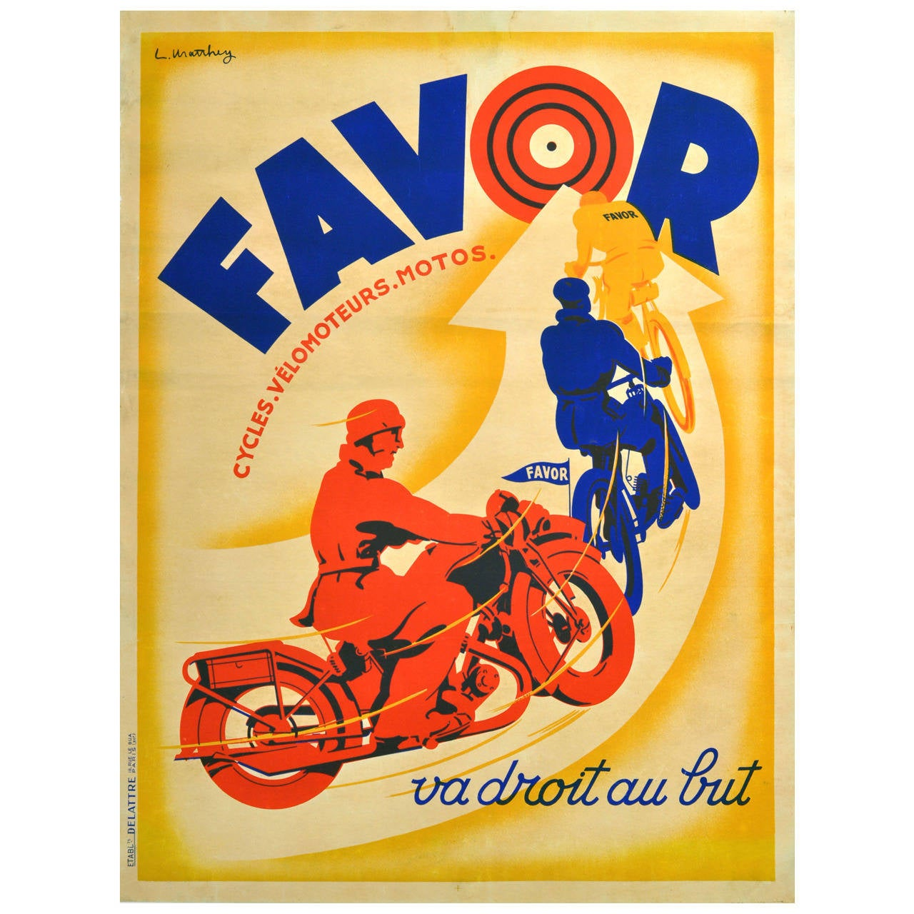 Original Vintage Art Deco Poster Advertising Favor Motorcycles and ...