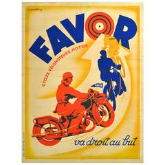 Original Vintage Art Deco Poster Advertising Favor Motorcycles and Cycles France