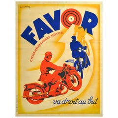 Original Vintage Art Deco Poster Favor Motorcycles & Cycles France To The Point