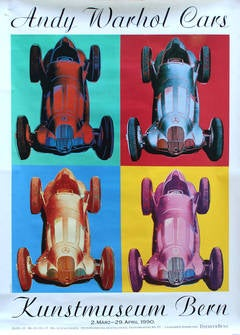 Large Original Pop Art Advertising Poster For An Exhibition of Andy Warhol Cars