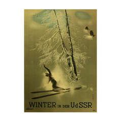 Original Vintage Soviet Poster Advertising Winter in the USSR, by Nikolai Zhukov