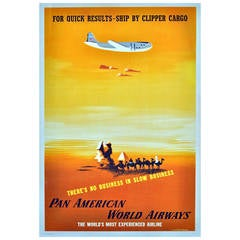 Pan American World Airways Poster by E. McKnight Kauffer Ship by Clipper Cargo