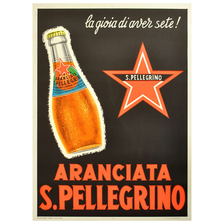 Original Vintage Advertising Poster For The Iconic Drink Aranciata S Pellegrino Sale