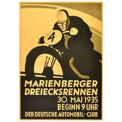 Original Vintage Poster for the 1935 Marienberger Dreiecksrennen Motorcycle Race