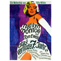 Original Vintage Movie Poster for The Seven Year Itch, Starring Marilyn Monroe