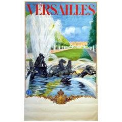 Original Vintage SNCF French National Railways Travel Poster Versailles France