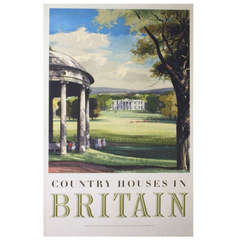 Original Vintage Travel Advertising Poster, Country Houses in Britain
