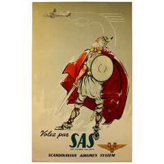 Original Vintage Poster for Scandinavian Airlines System, Flying Vikings