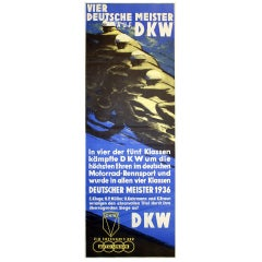 Original Vintage Motorcycle Racing Poster For The 1936 DKW German Championships