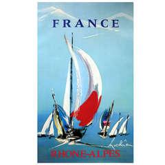 Rhone Alps Sailing, Original Vintage Travel Advertising Poster, Georges Mathieu