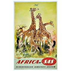 Original Vintage Travel Poster by Otto Nielsen: Africa by SAS featuring Giraffes