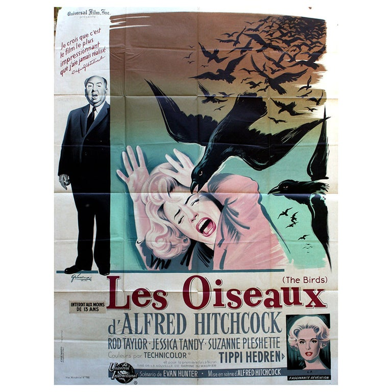 Original Vintage Movie Poster for the Alfred Hitchcock Film, The Birds For Sale