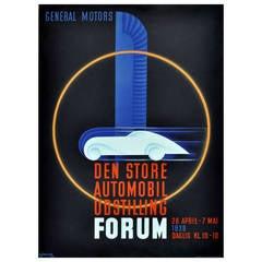 Original Art Deco Advertising Poster for General Motors by Thor Bogelund-Jensen