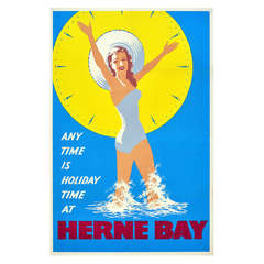Vintage Travel Advertising Poster, 'Any Time is Holiday Time at Herne Bay'